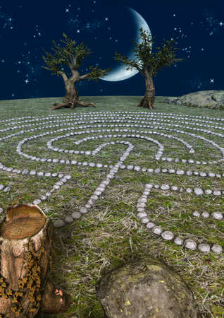 Night fairytale scene of a stone labyrinth, old trees with faces and a bright moon. 3D Illustration.