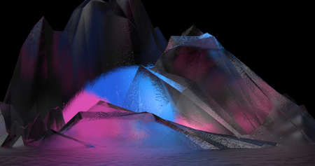 A modern abstract illustration about colorful crystals which looks like mountains in a black background. 3D Illustration.