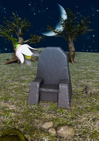 A fairytale scene with a stone throne full or runes in nature. 3D Illustration. Imagens