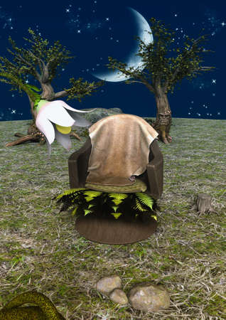 A fairytale scene with a throne in nature. 3D Illustration. Imagens