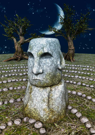A fairytale stone labyrinth with a stone head on it. 3D Illustration. Imagens