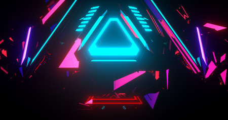 A modern illustration about neon colorful triangles making a pattern. 3D Illustration. Imagens