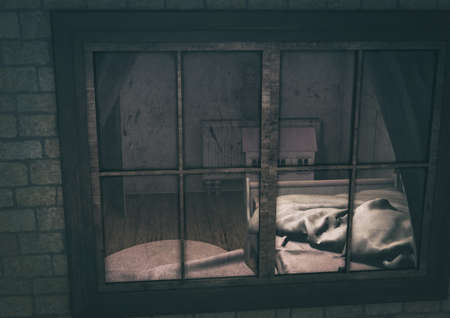 Vintage illustration of a window which shows the creepy doll, and a dirty kid bedroom. 3D Illustration.