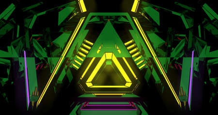 A modern illustration of neon colored triangles making a pattern in green and yellow colors. 3D Illustration. Imagens