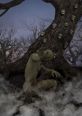 A dark illustration of a creepy forest with an old tree, skulls, bones and a human figure in a dramatic pose. 3D Illustration. Stock Photo