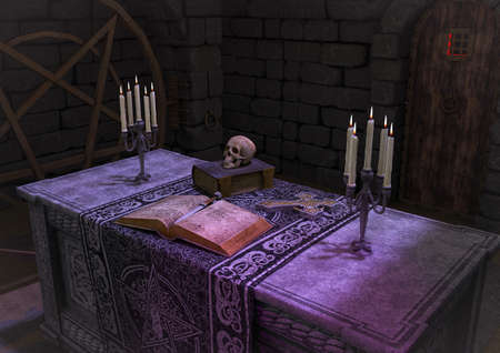 A scene of a dark ritual altar, with a book, a skull, a dagger in a creepy abandoned room. 3D Illustration. Stock Photo