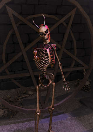 A portrait of a creepy horned skeleton with a satanic pentacle behind him in a dirty dungeon. 3D Illustration.