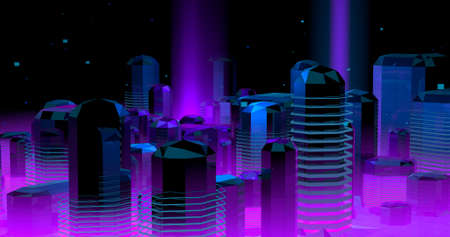 A scene about a neon futuristic city, in violet and blue lights. 3D Illustration. Imagens