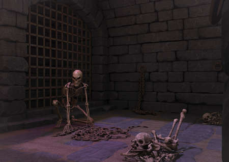 A creepy dungeon with a threaten skeleton, and bones in the floor. 3D Illustration. Stock Photo