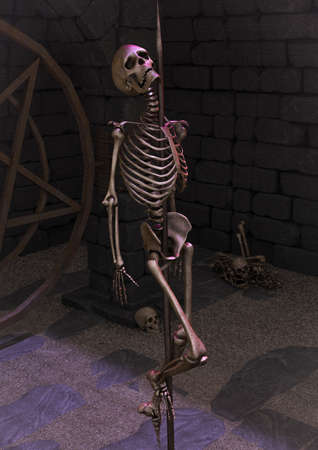 A portrait of a skeleton impaled in a creepy dungeon. 3D Illustration.