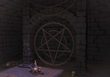 A dark dungeon with a satanic pentacle, skulls, and bones in the floor. 3D Illustration. Stock Photo