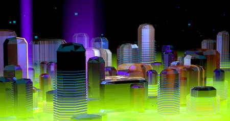 A scene about a neon futuristic city, in violet and green lights. 3D Illustration.