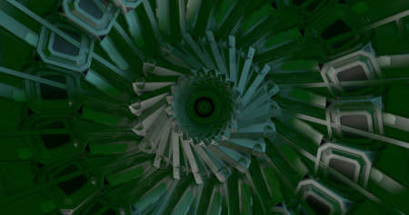 Background  backdrop of a green kaleidoscope. 3D Illustration. Imagens