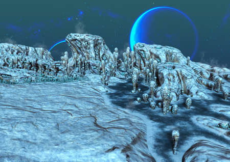 A fantasy scene of a frozen alien land, with blue moons behind. 3D Illustration.