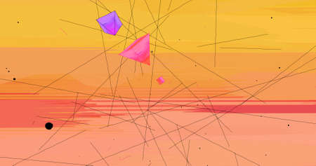 An abstract scene with triangles and lines in a gradient background. 3D Illustration. Imagens