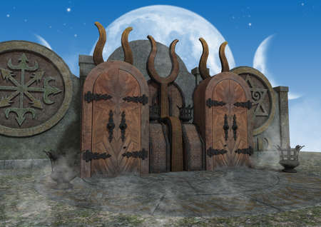 A scene of an outdoor fantasy  mystical temple. 3D Illustration.