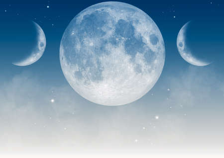 Light blue wallpaper with realistic triple moon Wiccan symbol. 3D Illustration.
