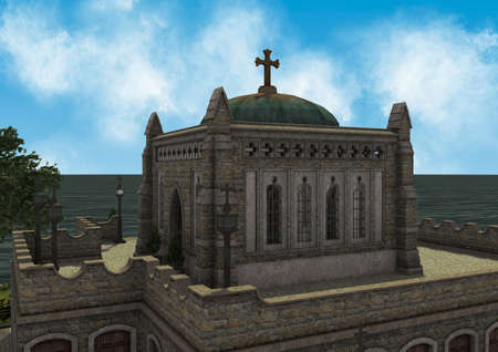 Daylight scene of a beautiful little temple on an island with trees and vegetation. 3D Illustration.