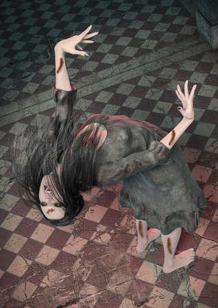 Portrait of a demonically possessed girl inside a creepy asylum. 3D Illustration. Stock fotó