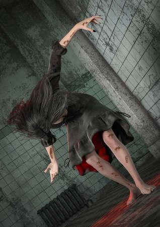 Portrait d'une fille possédée par des démons dans un asile effrayant. Illustration 3D.
