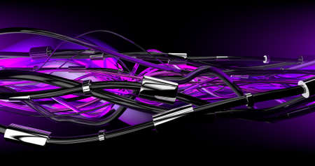 Futuristic cyber cables link and connect each other in a violet background. 3D Illustration.