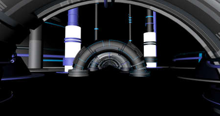 Scene of a sci-fi  futuristic inside of a bunker with arches. 3D Illustration.