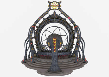 An outdoor fantasy temple isolated on a white background. 3D illustration. Stock Photo