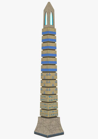 A fantasy obelisk isolated in a white background. 3D illustration.