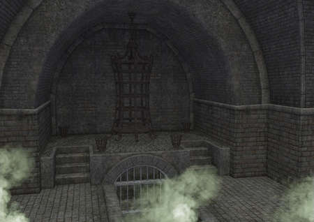 An empty fantasy dungeon  vault with odd green smoke. 3D illustration.