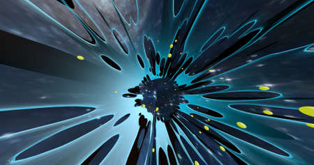 An abstract scene of a colorful explosion on the universe. 3D illustration.