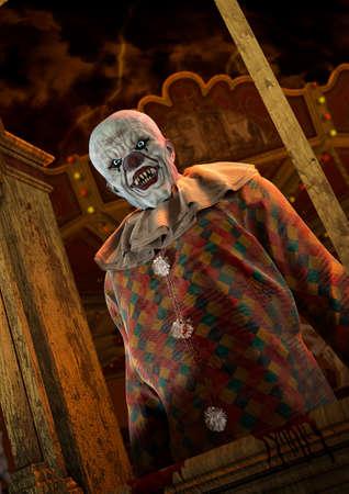 Portrait d'un horrible clown chauve psycho sur un carnaval effrayant. illustration 3D. Banque d'images