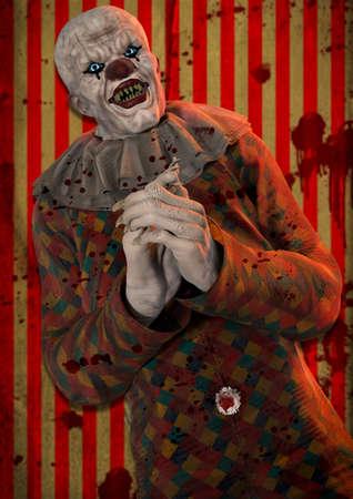 Portrait of a horrible psycho bald clown on a creepy carnival. 3D illustration.