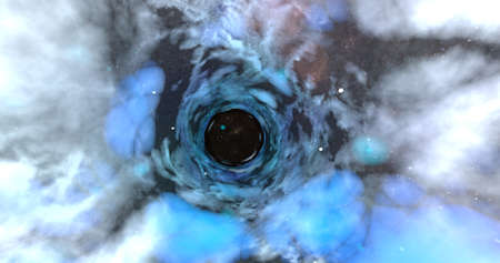 A scene of a wormhole on a vast universe. 3D illustration.
