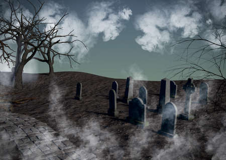 A dark fantasy forest with creepy trees and tombs surrounded by mist. 3D illustration. Фото со стока