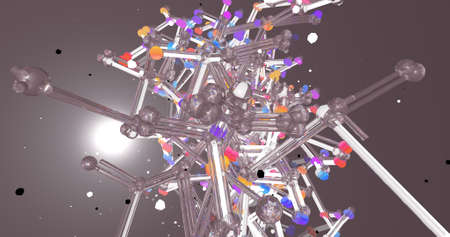 An abstract scene of crystal tubes in a milky color backdrop. 3D illustration.