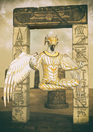 A fantasy portrait of an Egyptian god in ruin desert. 3D illustration. Фото со стока
