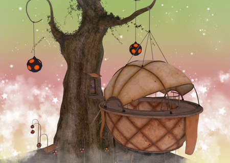 Fairytale scene of a treehouse surrounded by a pastel sky. 3D illustration.