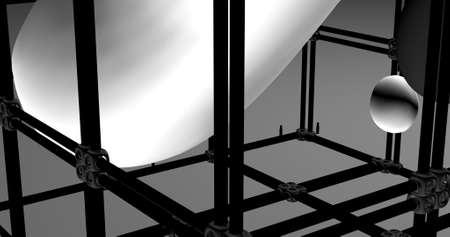 An organic gray plasticine shape inside a cube box. 3D illustration.