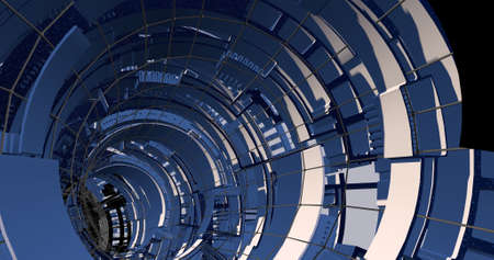 Scene of a tech and sci-fi tunnel on blue colors. 3D illustration. Stock fotó