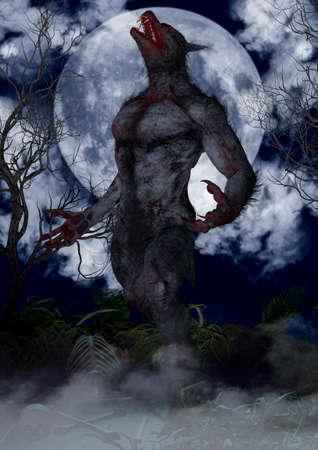 Porträt eines wilden und gruseligen Werwolfs. 3D-Darstellung. Standard-Bild