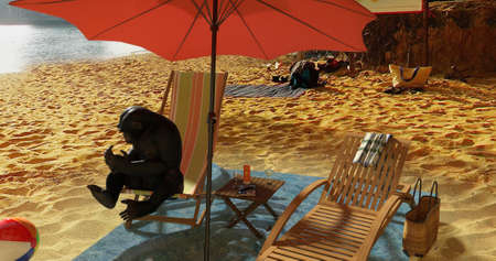 A surreal scene of a monkey taking a sunbath on the beach. 3D illustration.