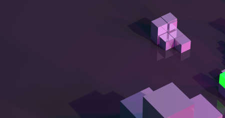 A colorful background made by cubes and boxes in neon style. 3D illustration. Stock fotó
