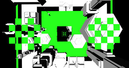 Vintage video game buildings in black and green colors. 3D illustration. Stock fotó