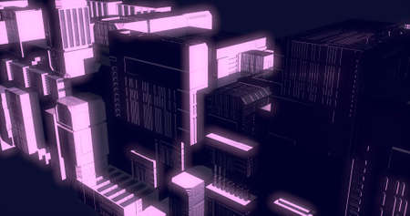 Scene of futuristic city with its buildings glowing. 3D illustration.