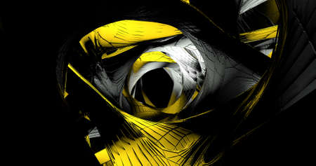 Abstract black background with a twisted metallic figure on it. 3D illustration.