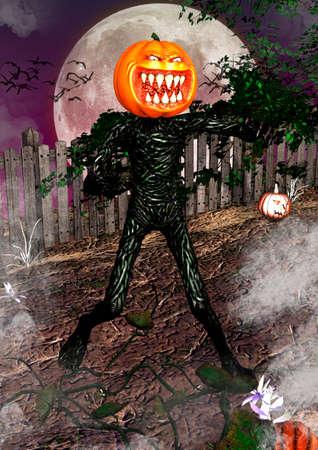 Creepy but funny portrait of Jack o Lantern. 3D illustration.