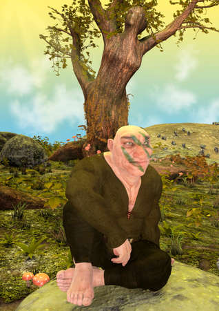 Colorful portrait of a fantasy dwarf on an enchanted forest. 3D illustration.