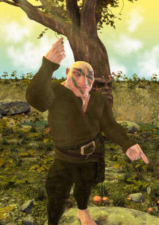 Colorful portrait of a fantasy dwarf on an enchanted forest. 3D illustration. Zdjęcie Seryjne - 143215555