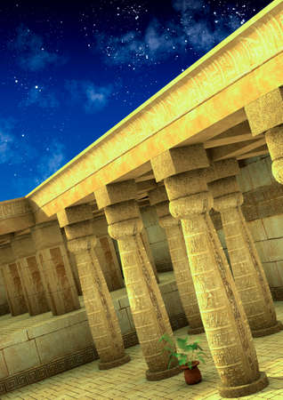 Fantasy scene of an old and empty Egyptian temple. 3D Illustration. Imagens