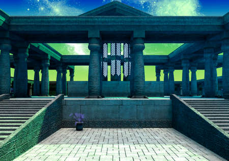 Fantasy alien night temple illuminated by the light of stars. 3D Illustration.